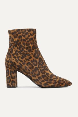 Saint Laurent Lou Leopard-print Suede Ankle Boots - Leopard print