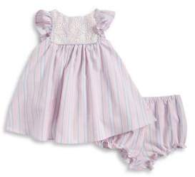 Pippa Pastourelle by & Julie Girl's Lace Bodice Stripe Dress with Bloomers