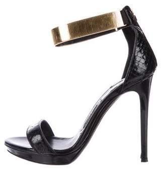 Tom Ford Snakeskin Ankle-Strap Sandals