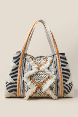 francesca's Florence Striped Fabric Tote - Black/White