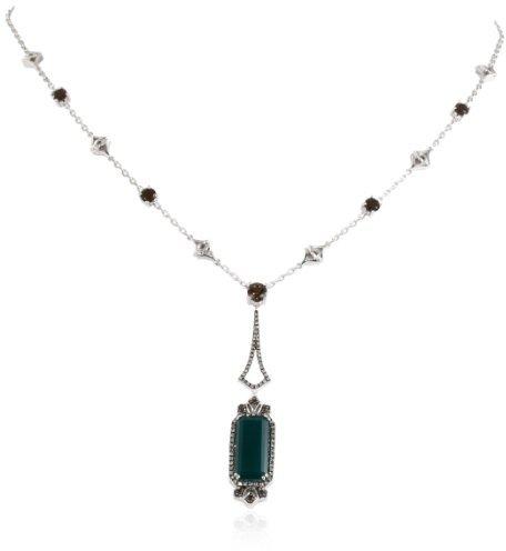 Badgley Mischka Fine Jewelry Champagne Diamonds Green Agate and Smokey Quartz Necklace