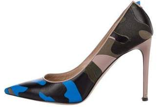 Valentino Leather Psychedelic Camo Pumps