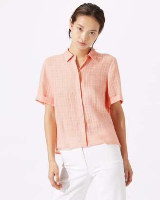 Jigsaw Short Sleeve Linen Check Blouse