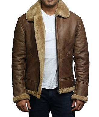 Brandslock Airforce Mens RAF Aviator Soft Shearling Sheepskin Leather Bomber Flying Jacket (S, )