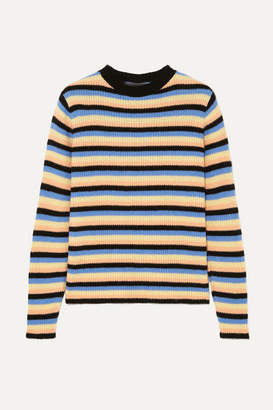 The Elder Statesman Striped Cashmere Sweater - Black