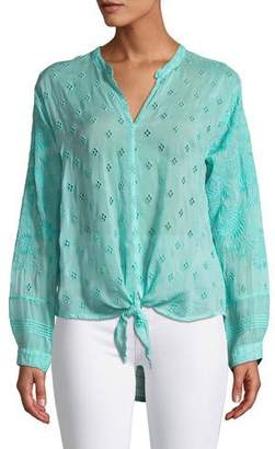 Johnny Was Hunter Long-Sleeve Tie-Front Sheer Georgette Blouse