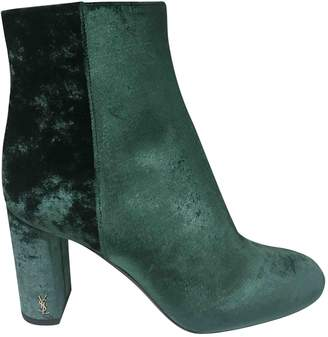 e495c173b58 Saint Laurent Loulou Green Velvet Ankle boots
