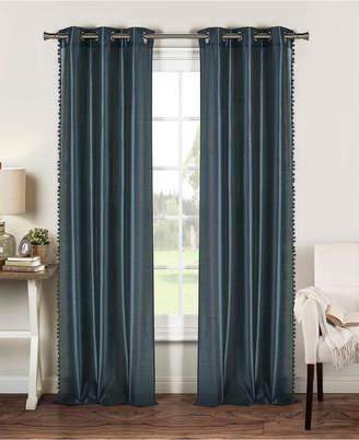 """Duck River Textile Bali 38"""" x 84"""" Pompom Trim Faux Silk Curtain Set"""