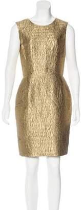 Oscar de la Renta Metallic Sheath Dress Gold Metallic Sheath Dress