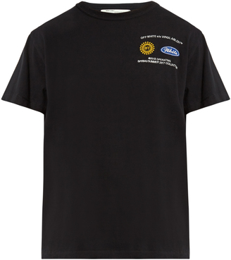 OFF-WHITE Work embroidered cotton-jersey T-shirt $195 thestylecure.com