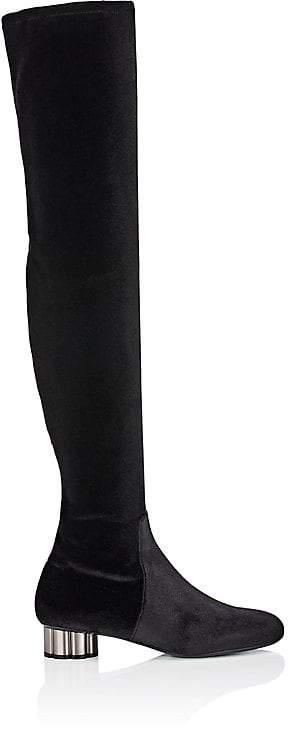 Salvatore Ferragamo Women's Flower-Heel Velvet Over-The-Knee Boots