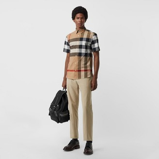 Burberry Short-sleeve Check Stretch Cotton Shirt , Size: M, Beige