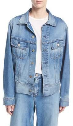 Oscar de la Renta Monkey-Embroidered Button-Front Denim Jacket