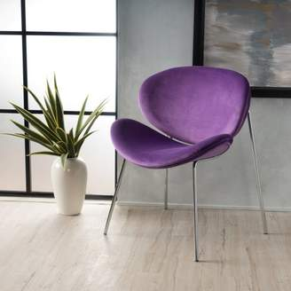 Noble House Corbin Retro New Velvet Accent Chair, Eggplant