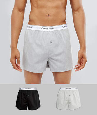 Calvin Klein Woven Boxers 2 Pack in Slim Fit