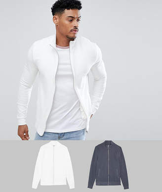 Asos DESIGN muscle jersey track jacket 2 pack charcoal/off white