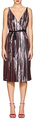 Robert Rodriguez Women's Sequin-Striped Wrap-Front Cami Dress