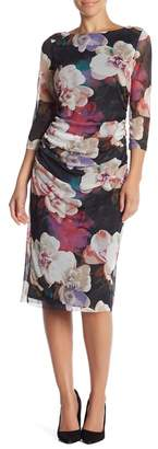 Ignite Evenings Floral Mesh Midi Dress