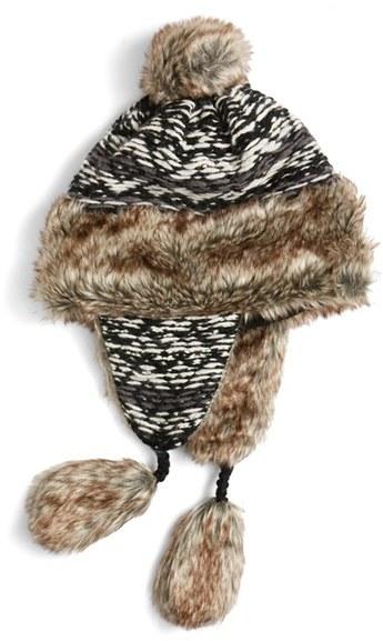 Women's Nirvanna Designs Opposite Pattern Earflap Hat With Faux Fur Trim - Black