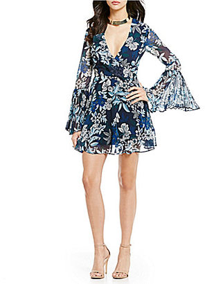 Keepsake Seasons Floral Bell Sleeve V-Neck Mini Dress $200 thestylecure.com