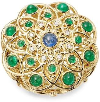 Temple St. Clair Women's Diamond, Emerald, Ruby, Sapphire and 18K Yellow Gold Mosaic Brooch