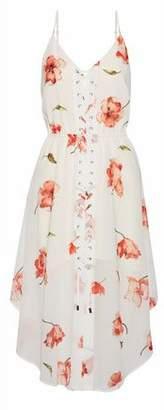 Haute Hippie Lace-Up Floral-Print Crepe De Chine Dress