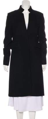 Alexander Wang Wool Leather-Pleated-Accented Coat