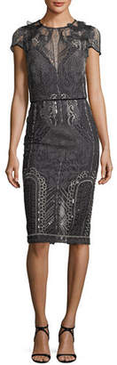 Marchesa Embroidered Lace Cap-Sleeve Sheath Cocktail Dress