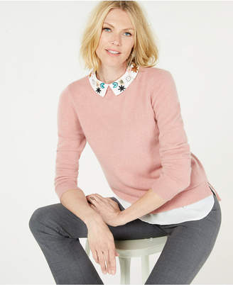 Charter Club Pure Cashmere Layered Look Sweater with Floral Collar in Regular & Petite Sizes