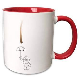 3dRose Cute Drip Guy Avoiding Coffee or Chocolate Drop with Umbrella - fun fake stain funny unique gift - Two Tone Red Mug, 11-ounce