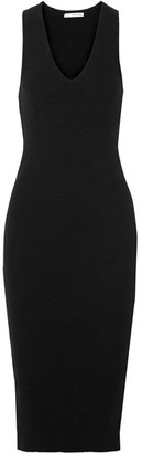 James Perse - Ribbed Stretch-cotton Midi Dress - Black $245 thestylecure.com