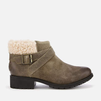 226410df381 UGG Grey Leather Boots For Women - ShopStyle UK