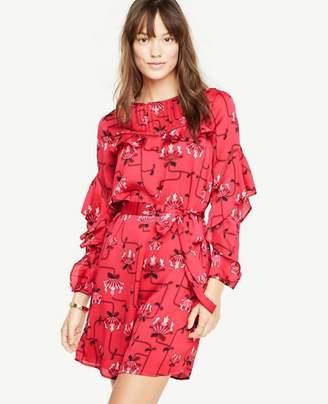 Ann Taylor Ruffle Sleeve Lace Inset Dress