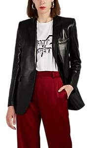 Saint Laurent Women's Leather One-Button Blazer - Black