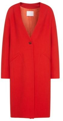 Hugo Boss Cubali Wool Crepe Cocoon Coat 4 Red $745 thestylecure.com