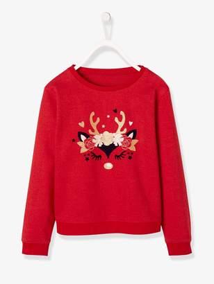 Vertbaudet Christmas Sweatshirt for Girls with Iridescent Reindeer