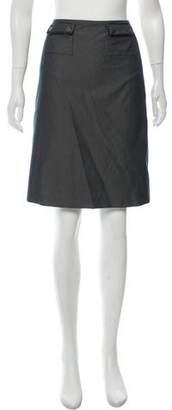 Paule Ka Leather-Trimmed Knee-Length Skirt