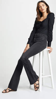 Veronica Beard Jean Beverly Skinny Flare Jeans with Button Fly