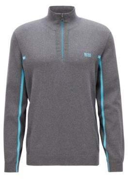 BOSS Hugo Zipper-neck sweater in an organic-cotton L Grey