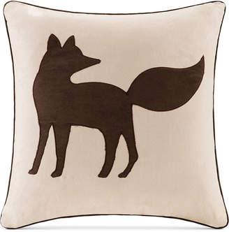 """Madison Park Faux-Suede Fox Applique 20"""" Square Decorative Pillow"""