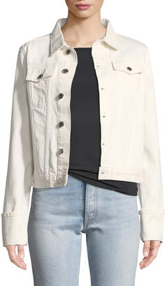 Helmut Lang Calf-Leather Denim-Detail Jacket