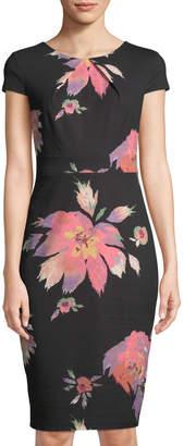 Jax Floral-Print Short-Sleeve Sheath Dress