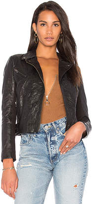 Muubaa Crinkle Moto Jacket in Black $475 thestylecure.com