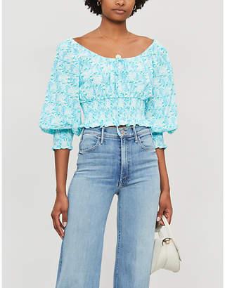 Rixo Helena floral-print cotton-jersey blouse