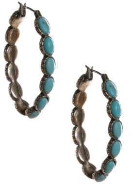 Lucky Brand Silvertone Turquoise Hoop Earrings