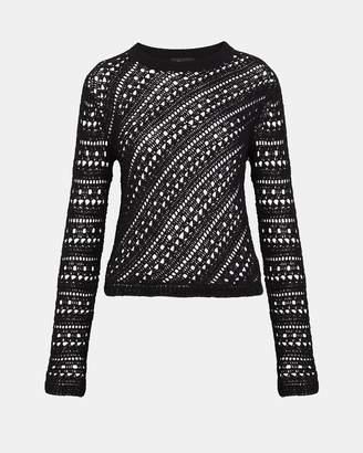 Theory Cotton Crochet Crewneck