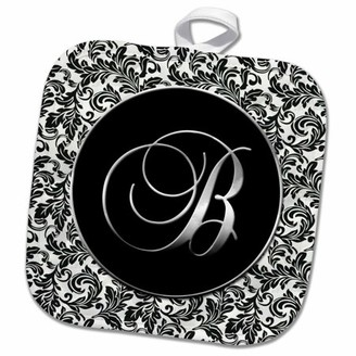 3dRose Letter B - Black and White Damask - Pot Holder, 8 by 8-inch
