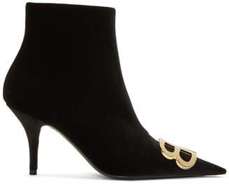 Balenciaga Black Velvet Logo Plaque Boots