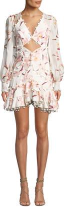 Zimmermann Corsage Floral-Print Cutout-Front Corsage Bauble Mini Dress