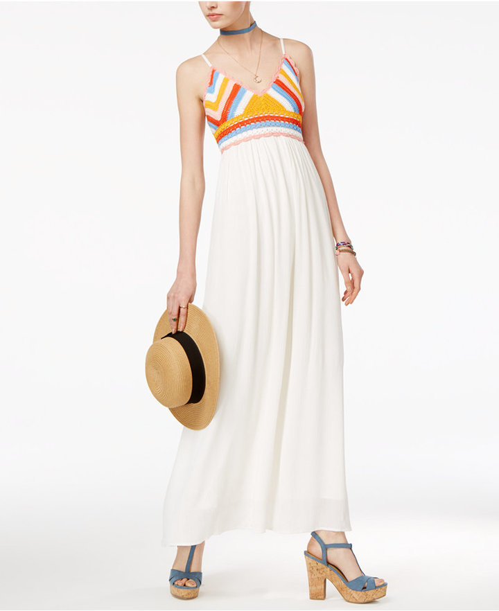 American RagAmerican Rag Juniors' Crocheted Maxi Dress, Only at Macy's